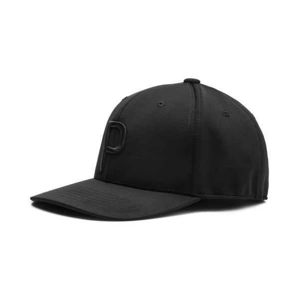 Golf Men's P Snapback Cap, Puma Black-Puma Black, large