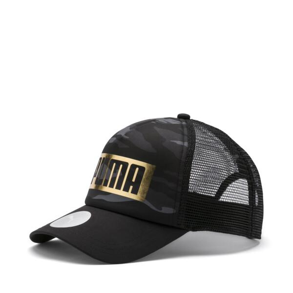 Camo Foil Trucker Hat, Puma Black-gold, large