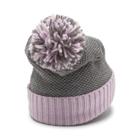 Thumbnail 2 of ARCHIVE Pom beanie, Light Gray Heather-W. orchid, medium