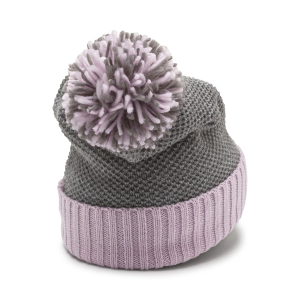 ARCHIVE Pom beanie, Light Gray Heather-W. orchid, large