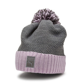 Thumbnail 1 of ARCHIVE Pom beanie, Light Gray Heather-W. orchid, medium
