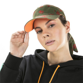 Thumbnail 3 of PUMA x SUE TSAI Visor, Olivine-AOP-fizzy orange, medium