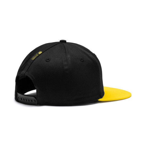 BVB flatbrim Fan Cap, Puma Black-Cyber Yellow, large