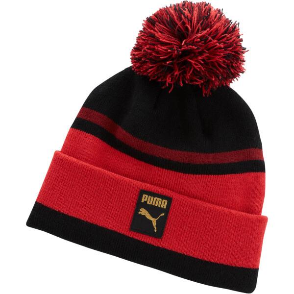 Check Pom Pom Beanie, Puma Black-Ribbon Red, large