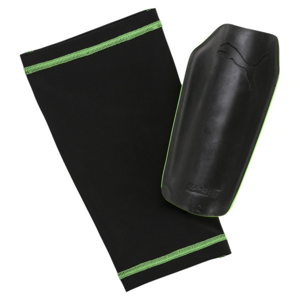evoPOWER 1.3 Slip Shin Guards, Green Gecko-Black-White, large