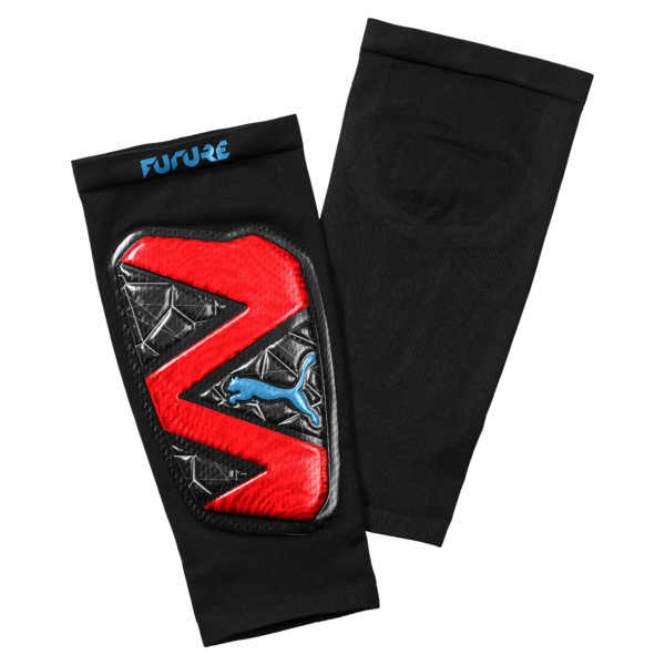 Protège-tibias de foot FUTURE 19.1, Red Blast-Black-Bleu Azur, large