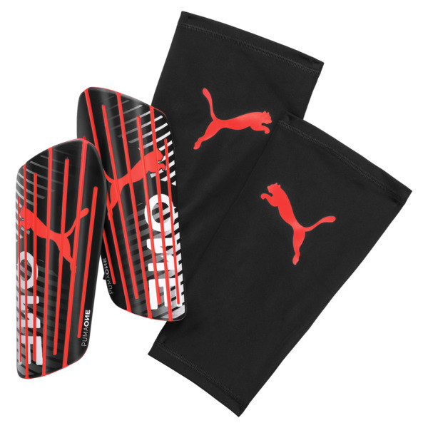 PUMA One 1 Shin Guards, Black-Nrgy Red-White, large