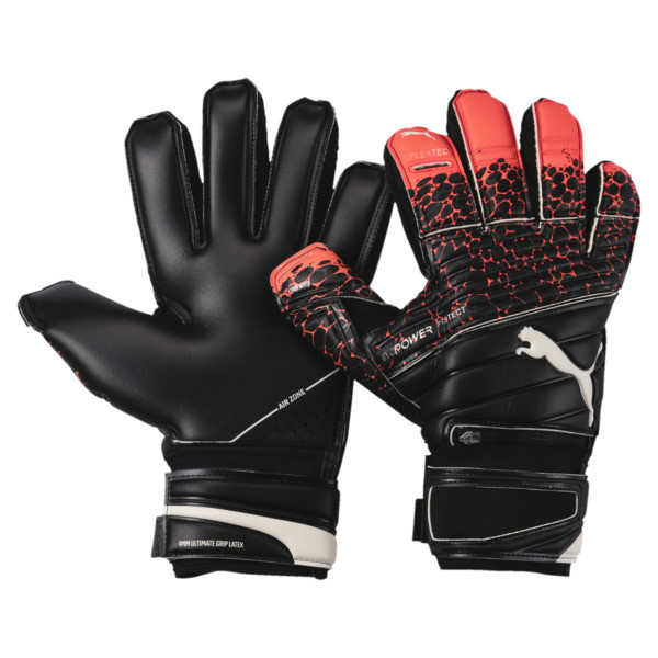 evoPOWER Protect 1.3 Soccer Goalkeeper Gloves, Fiery Coral-Black-White, large