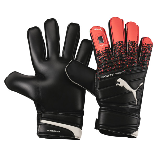 evoPOWER Protect 3.3 Goalkeeper Gloves, Fiery Coral-Black-White, large