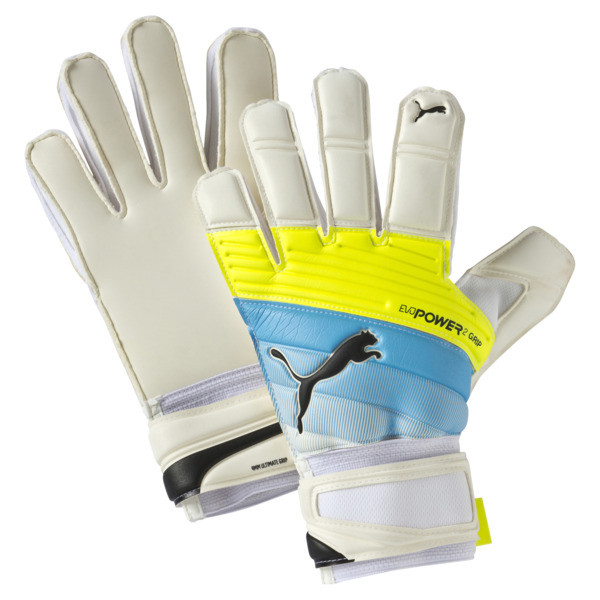 evoPOWER Grip 2.3 RC Soccer Goalkeeper Gloves, white-atomic blue-yellow, large
