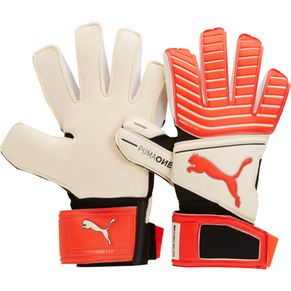ONE Grip 17.2 Soccer Goalie's Gloves, White-Red Blast-Black-Silver, large
