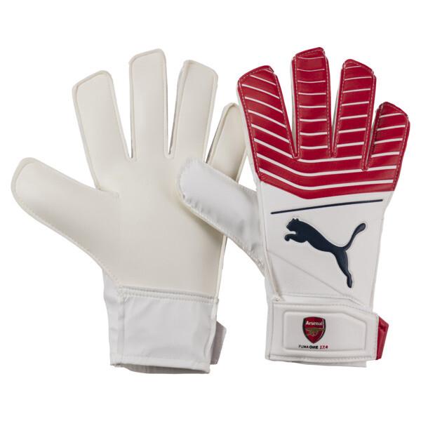 Arsenal PUMA ONE Grip 17.4 JR Goalkeeper Gloves, High Risk Red-Black-White, large