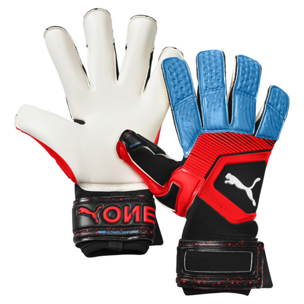 PUMA ONE Grip 1 Hybrid Pro Goalkeeper Gloves, Black-Bleu Azur-Red Blast, large