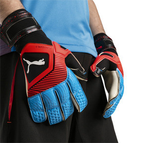 Thumbnail 2 of PUMA ONE Grip 1 Hybrid Pro Goalkeeper Gloves, Black-Bleu Azur-Red Blast, medium
