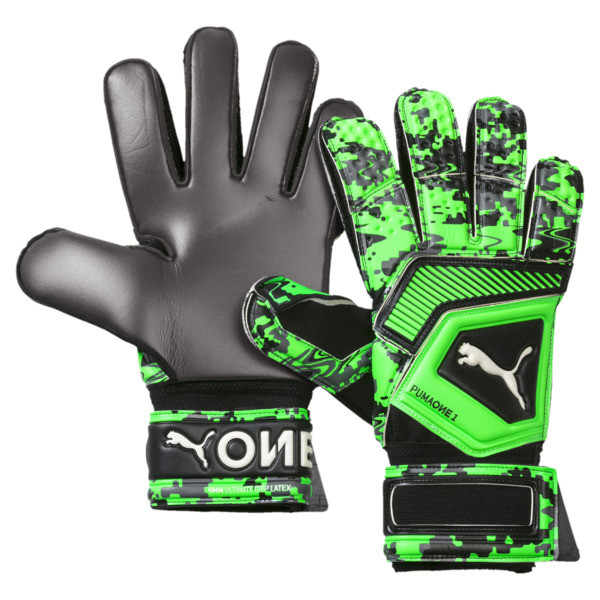 PUMA ONE Grip 1 Regular Cut Goalkeeper Gloves, Black-Gray-Green Gecko, large