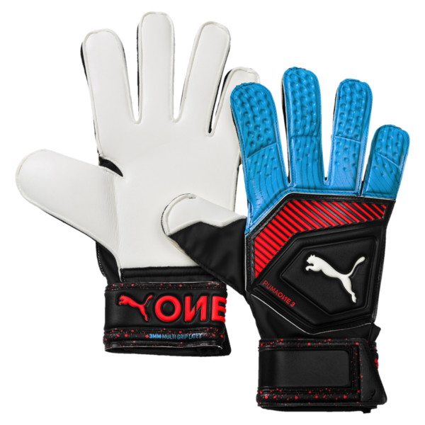 PUMA One Grip 3 RC Goalkeeper Gloves, Black-Bleu Azur-Red Blast, large