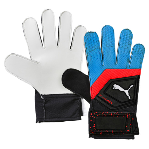 PUMA ONE Grip 4 Football Goalie's Gloves, Black-Bleu Azur-Red Blast, large