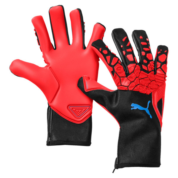 FUTURE Grip 19.1 Football Gloves, Red Blast-Puma Black-White, large