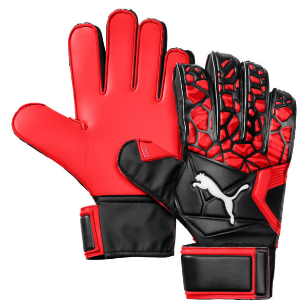 FUTURE Grip 19.4 Football Goalkeeper Gloves, Red Blast-Puma Black-White, large