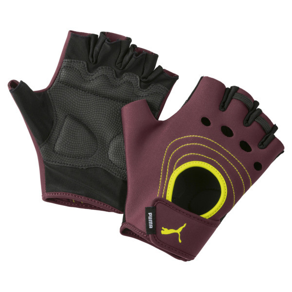 AT Damen Training Handschuhe, Vineyard Wine-Yellow Alert, large