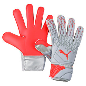 Thumbnail 1 of FUTURE Grip 19.4 Goalkeeper Gloves, Grey Dawn-Nrgy Red, medium