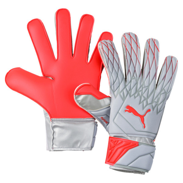 FUTURE Grip 19.4 Goalkeeper Gloves, Grey Dawn-Nrgy Red, large