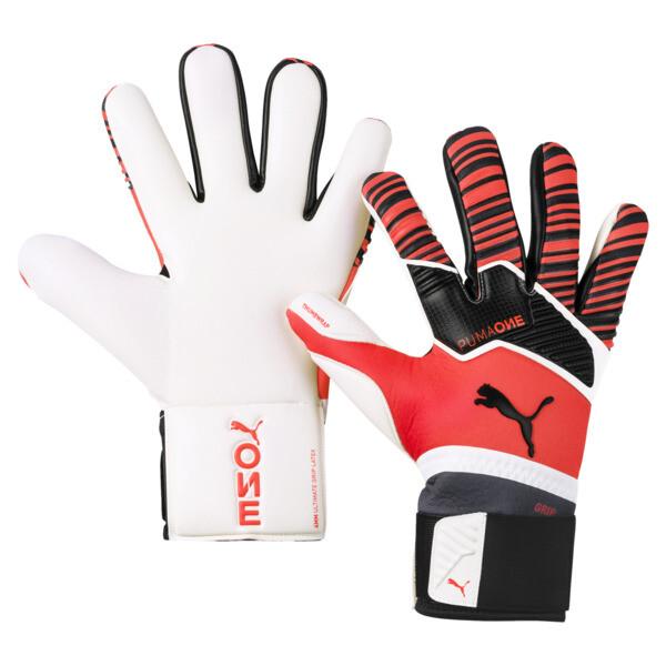 PUMA One Grip 1 Hybrid Pro Goalkeeper Gloves, Nrgy Red-Black-White, large