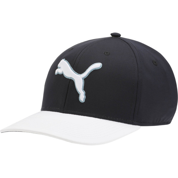 #GoTime Snapback Golf Hat, Puma Black-Bright White, large
