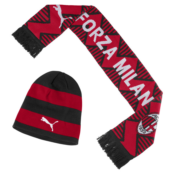 Set AC Milan de bonnet et d'écharpe, Tango Red-Puma Black, large