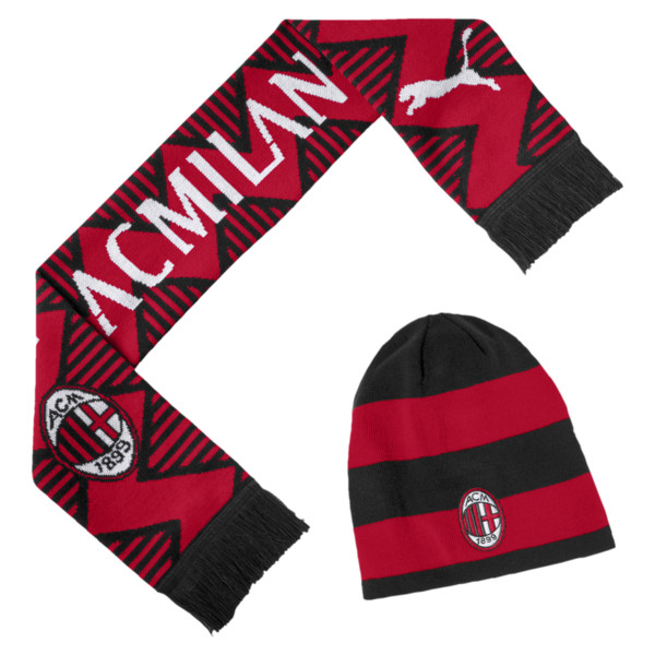 AC Milan Beanie and Scarf Set, Tango Red-Puma Black, large