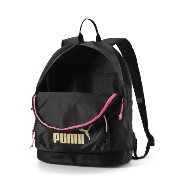 Women's Core Backpack, Puma Black-Gold, large