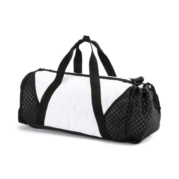 Ambition Gold Women's Barrel Bag, Puma White-Puma Black, large