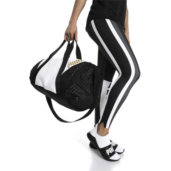 Ambition Gold Women's Barrel Bag, Puma White-Puma Black, large