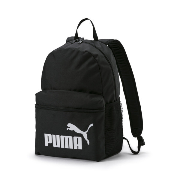 Designed with the modern athlete in mind, the Phase Backpack is both stylish and functional. The classic design features a roomy main compartment that opens via a two-way zip and padded adjustable straps so you can go through your day in style and comfort. | PUMA Phase Backpack in Black