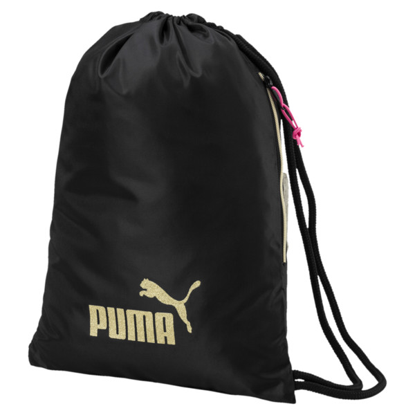 Women's Core Gym Bag, Puma Black-Gold, large
