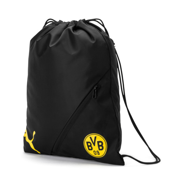 BVB LIGA Gym Bag, Puma Black-Cyber Yellow, large
