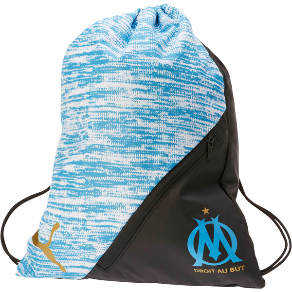 OM LIGA Gym Sack, AZURE BLUE-Puma Black, large