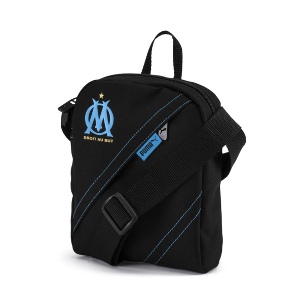Olympique de Marseille City Shoulder Bag, Puma Black-AZURE BLUE, large