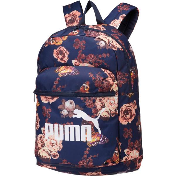Puma Classic Cat Backpack, Peacoat-Flower AOP, large