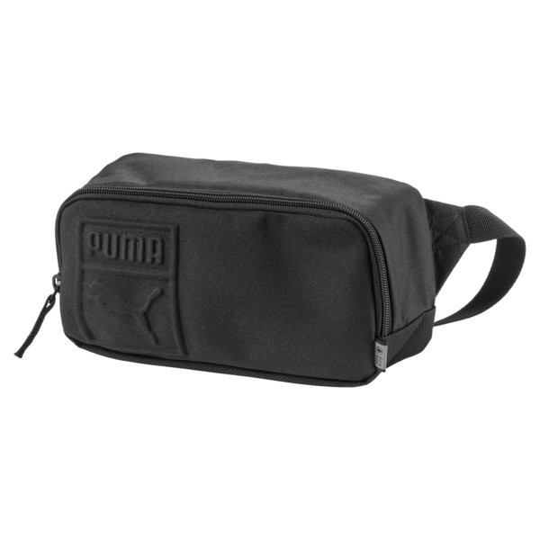 Product Storythe Puma S Waist Bag Gives You Easy Access To All Of Your Most Important Belongings, Even During Fast Runs And Hard Workouts. detailszip Opening Into Main Compartmentadjustable Webbing Waist Strap With Buckle Closurepadded Back Panelpuma Branded Polyester Lining With Pu Backingmetal Zip Puller With Webbing Tappuma 3D Cat Embossed Logo And Wordmarked Logo On The Front Panel | PUMA S Waist Bag in Black