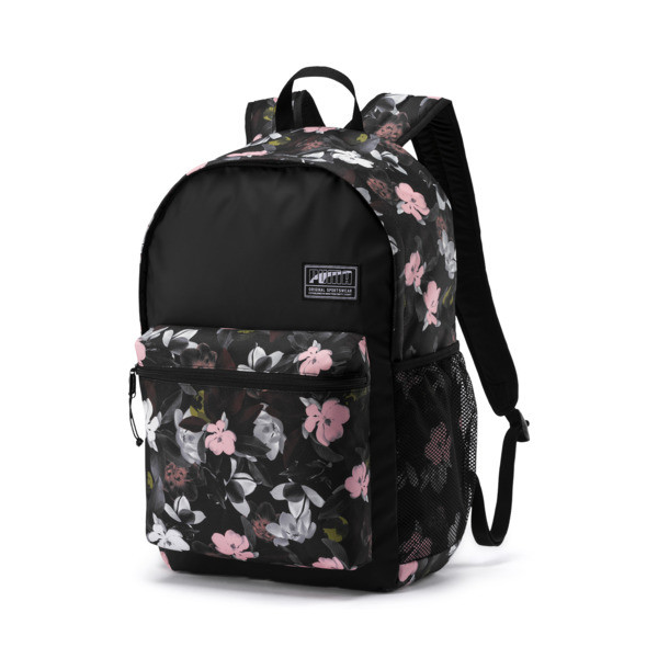 6296a2e80f60b1 PUMA Academy Backpack, Puma Black-Floral AOP, large