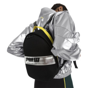 Thumbnail 2 of Women's Street Backpack, Puma Black-Blazing Yellow, medium