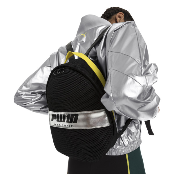 Women's Street Backpack, Puma Black-Blazing Yellow, large
