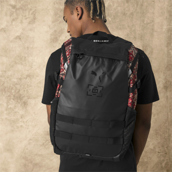 PUMA x LES BENJAMINS Backpack, Puma Black-AOP, large