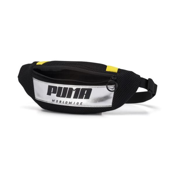 Prime Street Waist Bag, Puma Black-Blazing Yellow, large