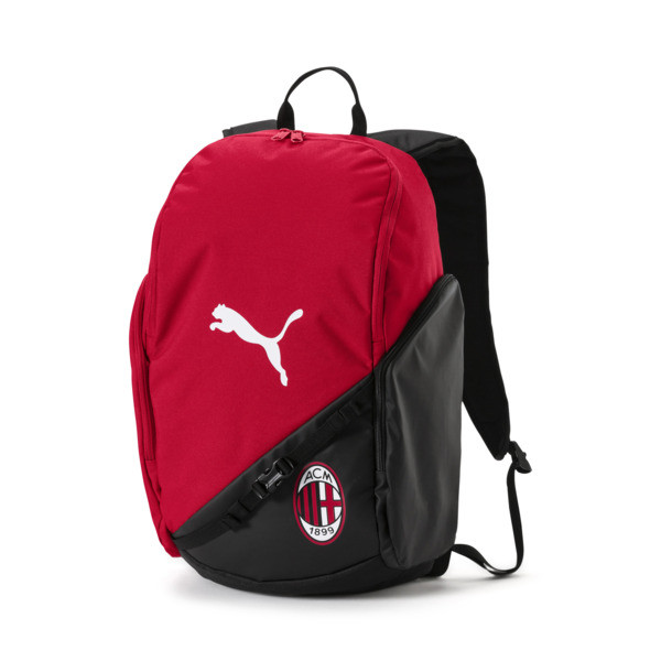 Put the team on your back- literally- in this AC Milan Liga Backpack. With a spacious main compartment, two side zip pockets and padded, adjustable shoulder straps, this backpack will get you to and from your game- all while repping your team. | PUMA AC Milan Liga Backpack in Tango Red/Black, Size UA