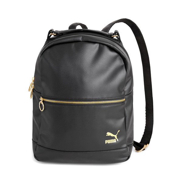 PUMA x KENZA Lux Women's Backpack, Puma Black-Gold, large