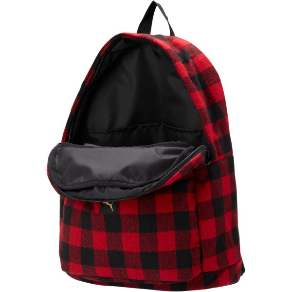 Check Backpack, Puma Black-Ribbon Red-check, large