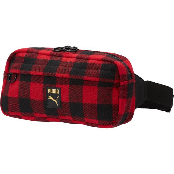 Checkered Waist Bag, Puma Black-Ribbon Red-check, large
