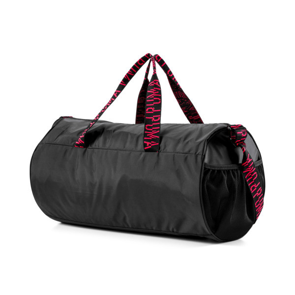 AT ESS Women's Training Duffel Bag, Puma Black-Pink Alert-AOP, large